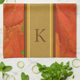 Fall Leaves Monogram Kitchen Towel