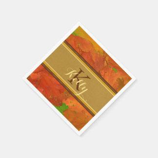Fall Leaves Monogram Napkins Disposable Serviettes