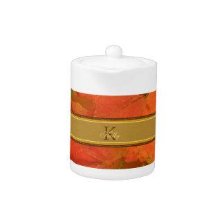 Fall Leaves Monogram Teapot