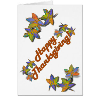Fall Leaves on Blue Greeting Card