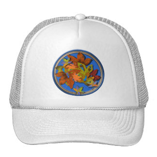 Fall Leaves on Blue Hat
