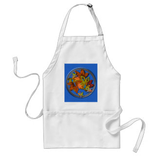 Fall Leaves on Blue Textured Background Aprons