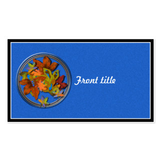 Fall Leaves on Blue Textured Background Business Card Template