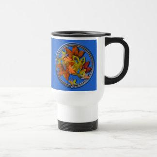 Fall Leaves on Blue Textured Background Mug
