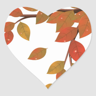 Fall Leaves on Branch2 Heart Sticker