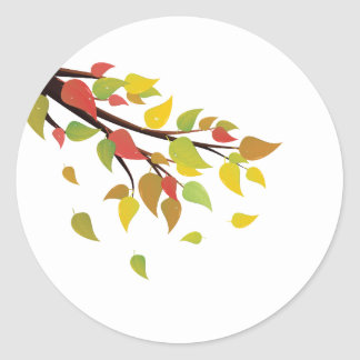 Fall Leaves on Branch Round Sticker