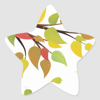 Fall Leaves on Branch Star Sticker