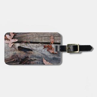 Fall Leaves on Old Wood Bag Tag