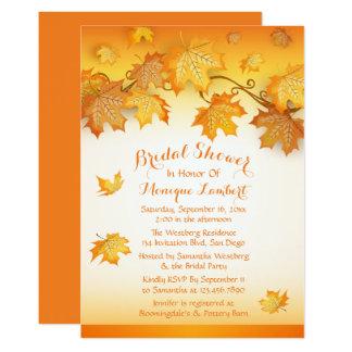 Fall Leaves Orange Bridal Shower Rustic Autumn Card