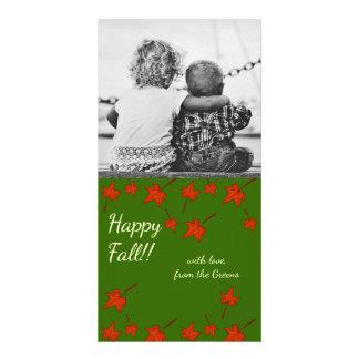 Fall Leaves: Orange Leaf, Customized Photocard Card