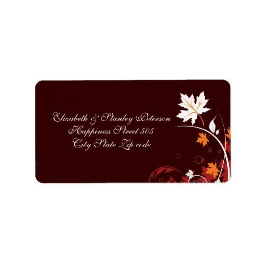 Fall leaves orange red white brown wedding label