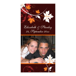 Fall leaves orange red white wedding Save the Date Card