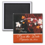 Fall leaves orange red white wedding Save the Date Square Magnet