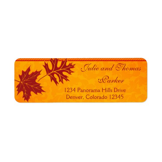 Fall Leaves Orange Wedding Return Address Labels