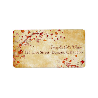 Fall Leaves Parchment Wedding Address Label
