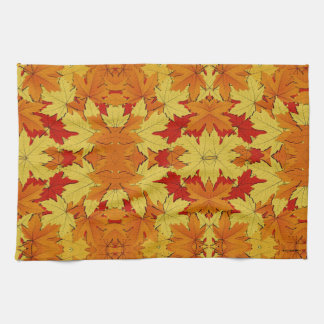 Fall Leaves Pattern Autumn Themed Hand Towel
