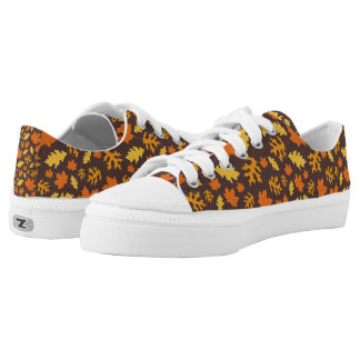 Fall Leaves Print Pattern Low Tops