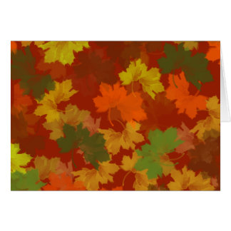 Fall Leaves - Red Background Greeting Card
