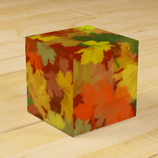 Fall Leaves - Red Background Party Favour Box
