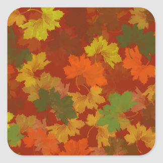 Fall Leaves - Red Background Sticker