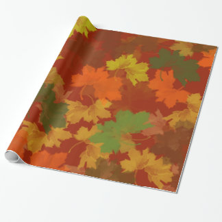 Fall Leaves - Red Background Wrapping Paper