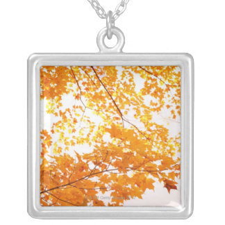 Fall Leaves Reflection Silver Plated Necklace