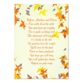Fall Leaves Rehearsal Dinner Poem Invitation