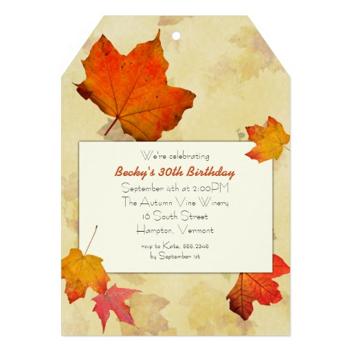 Fall Leaves Tag Birthday Party Invitations Announcements