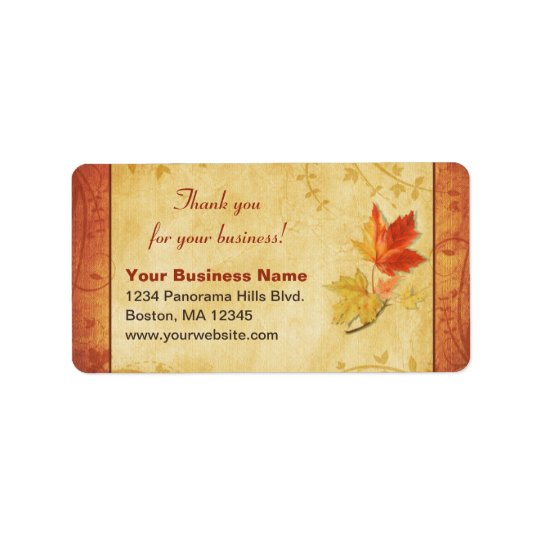 Fall Leaves Thank You Business Return Address Address Label