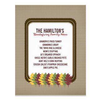 Fall Leaves Thanksgiving Menu Template 21.5 Cm X 28 Cm Flyer