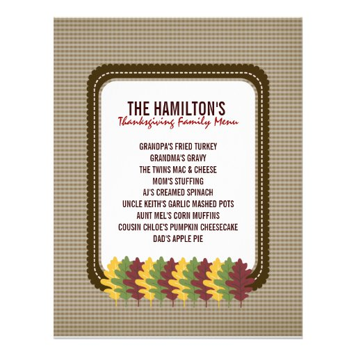 Fall Leaves Thanksgiving Menu Template Personalized Flyer