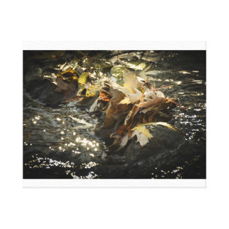 Fall leaves water photo canvas print