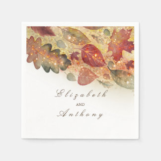 Fall Leaves Wedding Disposable Serviette