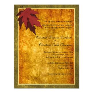 Fall Leaves Wedding Invitation-golden