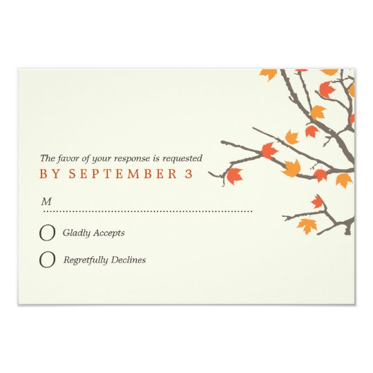 Fall Leaves Wedding Response Card