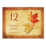Fall Leaves Wedding Table Number Card Post Card