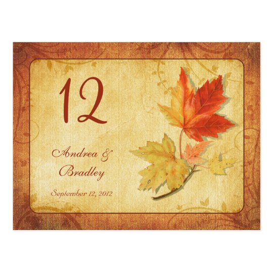 Fall Leaves Wedding Table Number Card Postcard