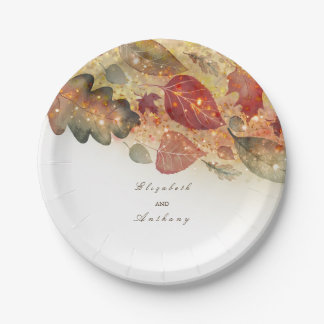 Fall Leaves White Wedding Paper Plate