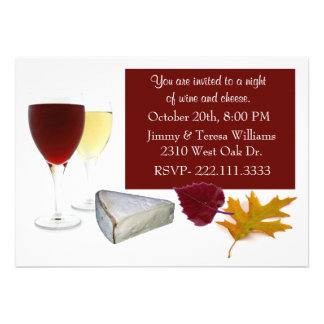 Fall Leaves Wine and Cheese Party Invitation