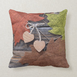Fall Leaves with Hearts Cushion