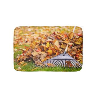 Fall Leaves With Rake Bath Mats