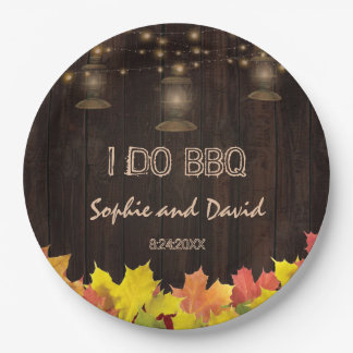 Fall Leaves Wood Old Lanterns I DO BBQ Paper Plate