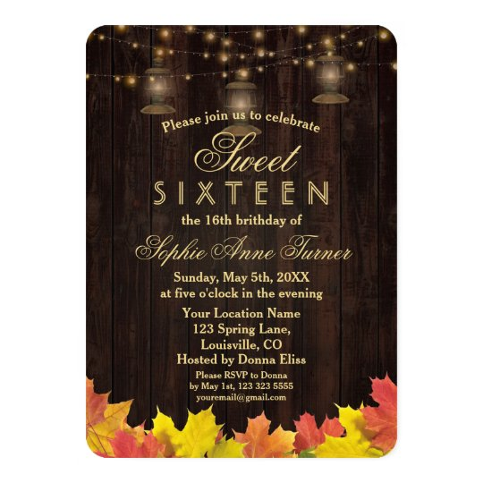 Fall Leaves Wood Old Lanterns SWEET SIXTEEN Card