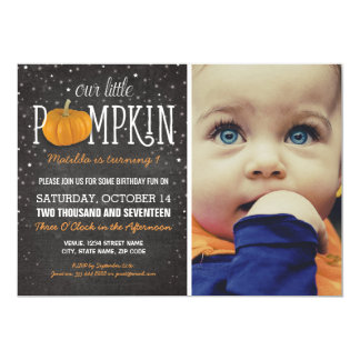 Fall Little Pumpkin Photo 1st Birthday Party Card