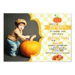 Fall Little Pumpkin Photo Birthday Party Custom Invitation