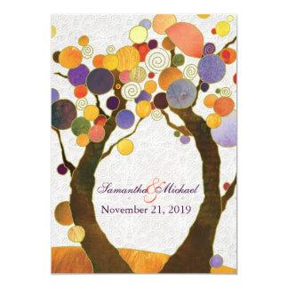 Fall Love Trees Modern Wedding 13 Cm X 18 Cm Invitation Card