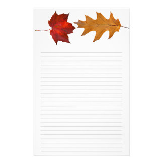 Fall Maple and Oak Leaf Lined Writing Paper