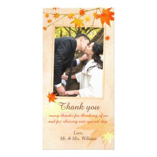Fall Maple Elegance Photo Wedding Thank You Customised Photo Card