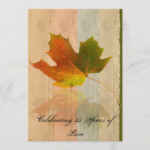 Fall Maple Leaf on Faux Handmade Paper Anniversary Invitation