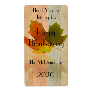 Fall Maple Leaf on Faux Handmade Paper Wine Label